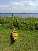 Kayak ready to sail - sea sport background — Stock Photo