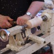 Wood turning craft on a lathe — Foto de Stock
