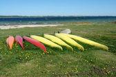 Kayaks ready to sail - sea sport background — Stock Photo