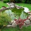 Beautiful classical design garden fish pond gardening background — Photo