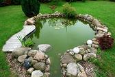 Prachtige klassiek design tuin vis vijver tuinieren achtergrond — Stockfoto