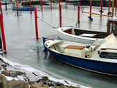 Boats in a marina in the winter — Stock Photo