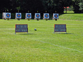 Archery targets in line in an archery competition — Stock Photo