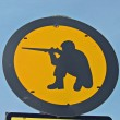 Military fire zone sign - Stock Photo