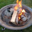 Fire pit with burning logs - Stock Photo