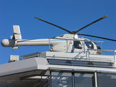Helicopter on a yacht — Stockfoto