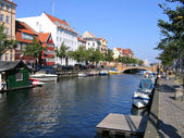 Copenhagen - water front houses and boats — Stock Photo