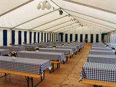 Inside a party tent — Stock Photo