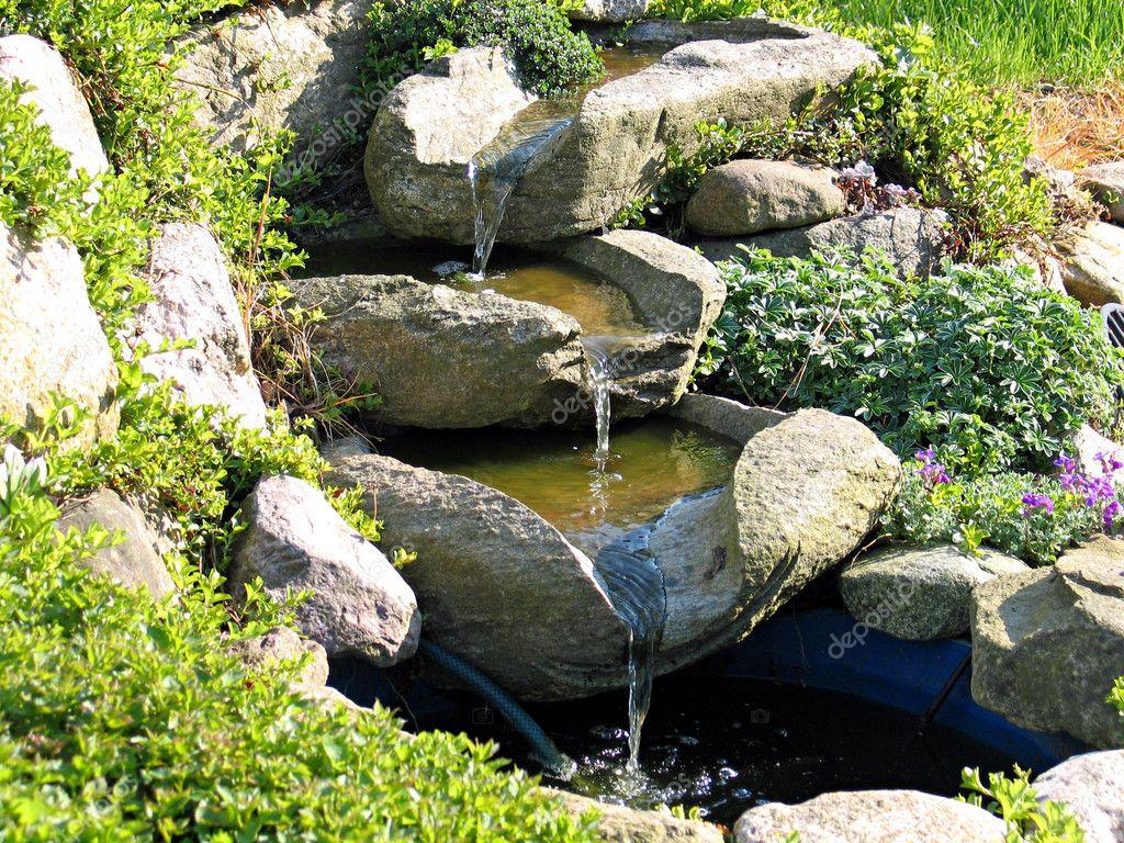 Beautiful Home Garden Waterfall Pond Stock Photo Ronyzmbow 8945969