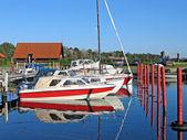 Båt i en marina Danmark — Stockfoto