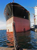 Cargo boat moored in a port — Stock Photo