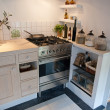 Details of modern neo classical design wooden country kitchen — Photo