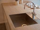 Details of modern kitchen sink with tap faucet — Stock Photo