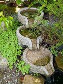Beautiful home garden decorative waterfall pond — Stock Photo