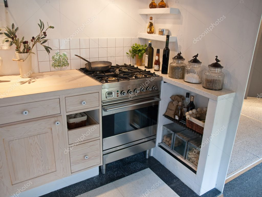 Details of modern neo classical design decorated wooden country style kitchen — Stock Photo #8976272