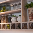 Beautiful classical kitchen shelves and spices rack — Foto de Stock