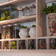 Beautiful classical kitchen shelves and spices rack — Stok fotoğraf