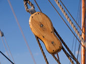 Sailing background sails ropes pulley — Stock Photo