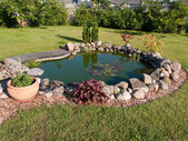 Beautiful classical garden fish pond — Stock Photo