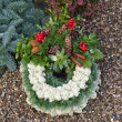 Cemetery Christmas grave garland wreath — Stock Photo