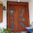 Photo: Beautiful decorative hand carved wooden glass door