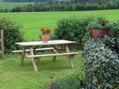 Wooden garden furniture - taking a rest — Stock Photo
