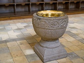 Baptismal font in full view — Foto Stock