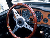 Old classic vintage sports car dashboard — Stock Photo