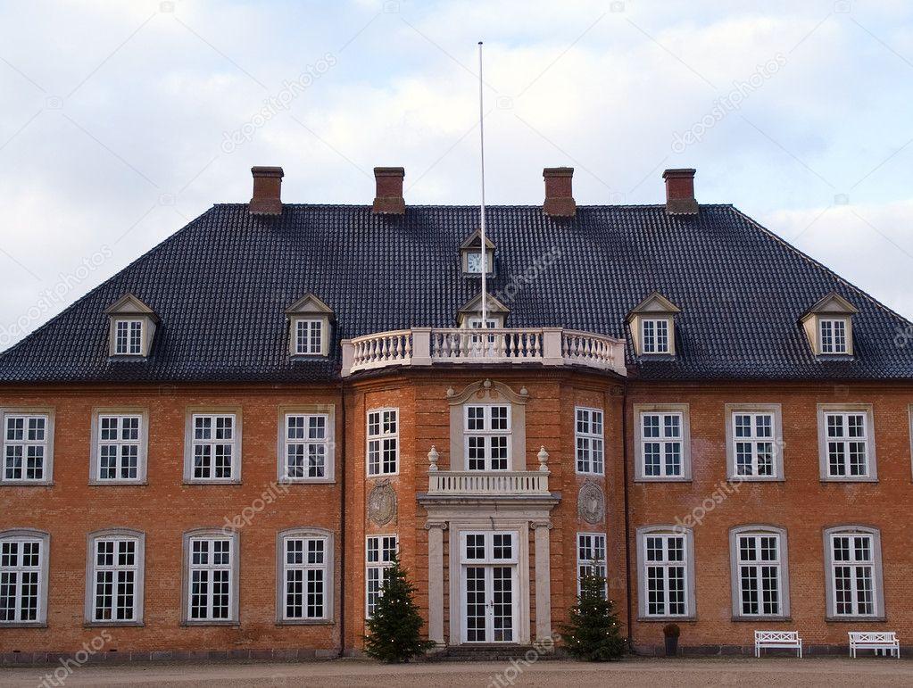 Big Beautiful Mansion House Estate Denmark Stock Photo