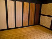 Display of hardwood parquet floors — Stock Photo