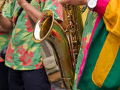 Caribbean Samba style saxophone player — Stock Photo