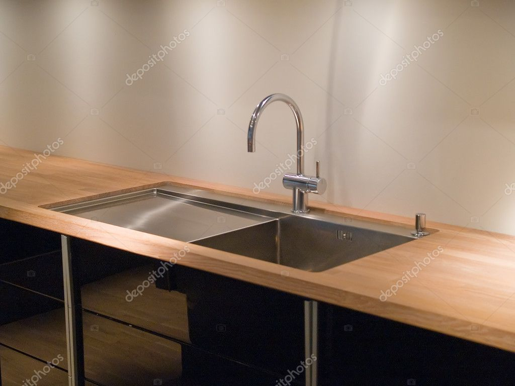 Details of modern design trendy  kitchen sink with water tap faucet — Stock Photo #9024856