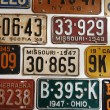 Vintage American cars number plates — Stock Photo