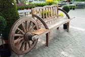 Creative wooden garden bench — Stock Photo