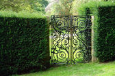 Black wrought iron garden gate — Stockfoto
