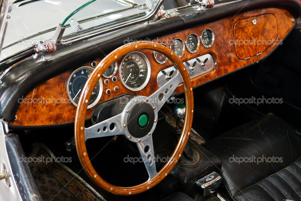 interior and dashboard on a vintage sports car stock photo ronyzmbow 9122183. Black Bedroom Furniture Sets. Home Design Ideas