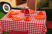 Classical vintage camping picnic table — Stockfoto