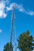 Telecommunication communication antenna tower mast — Stock Photo