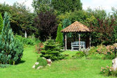 Beautiful home garden gazebo pavilion — Stock Photo