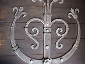 Detailes of an old wooden door with metal decoration — Stock Photo