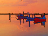 Magical reflection of a small dinghy dory boats digitally altere — Photo