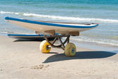Surf boards on a sandy beach — Stock Photo