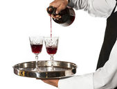 Pouring glasses of wine — Stock Photo