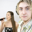 Listening to Singer — Stock Photo