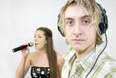 Listening to Singer — Stock Photo