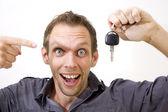 Happy with Car Key — Stock Photo