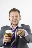 Glücklich betrunken und Zeigegerät Büroangestellter — Stockfoto