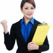 Successful Asian Businesswoman Clenching Her Fist — Stock Photo