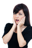 Cute Young Asian Woman Looking Surprised — Stock Photo