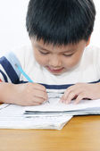 Schoolboy doing his school work — Stock Photo